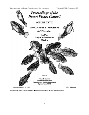Proceedings of the Desert Fishes Council, 1996, Volume 28 - desertfishes