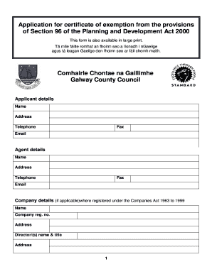 Fillable Online galway Application for a certificate of
