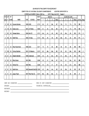 image about Printable Score Sheet named Ranking Sheet For Weightlifting - Fill On line, Printable
