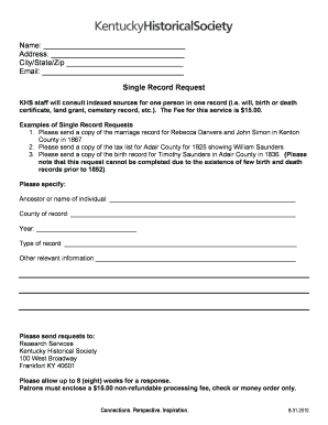 Single Record Request Form - Kentucky Historical Society - history ky