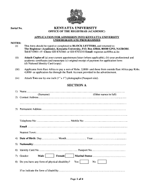 kenyatta university application forms