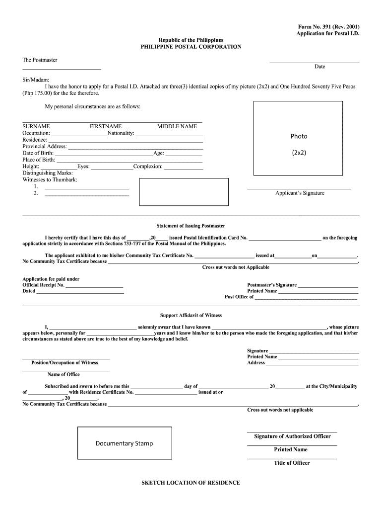 Postal Id Application Form - Fill Online, Printable
