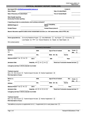 Army serious incident report form for Serious incident report template