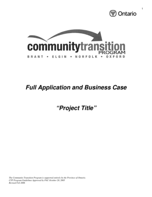 Full Application and Business Case - Community Transition Program