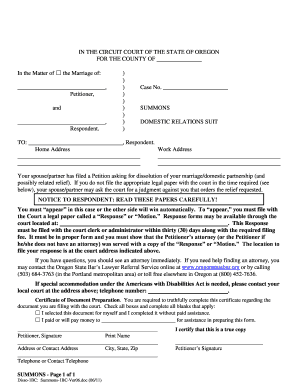Oregon fillable family law summons form
