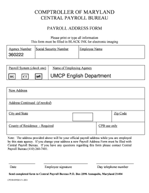 Fillable Online english umd Payroll change of address form ...