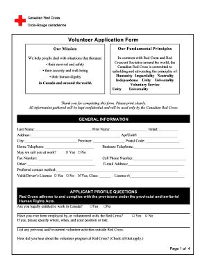 volunteer applications forms