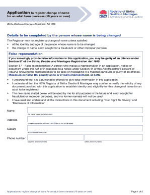 Submit birth death and marriages nsw Form Templates Online in PDF