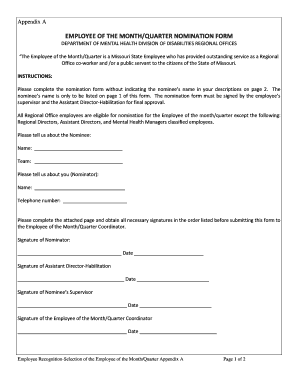 Employee Of The Quarter Nomination Form - Fill Online, Printable ...