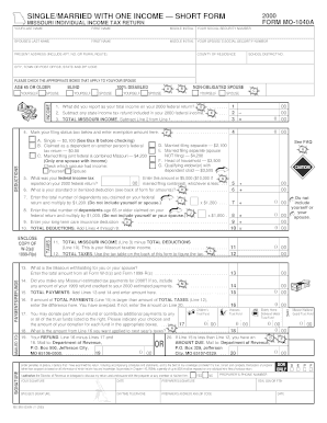 Missouri 1040 short form - Edit Online, Fill Out & Download ...