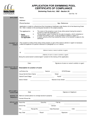 Fillable Online Cessnock Nsw Gov Application For Swimming Pool Certificate Of Compliance