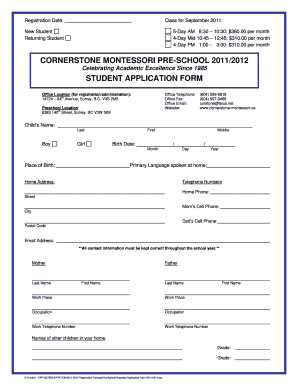 Pre School Admission Form - Fill Online, Printable, Fillable ...