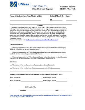 ferpa form umass dartmouth  Ferpa Privacy Waiver - Fill Online, Printable, Fillable ...