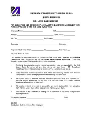 Sick Leave Bank Request   University Of Massachusetts Medical School