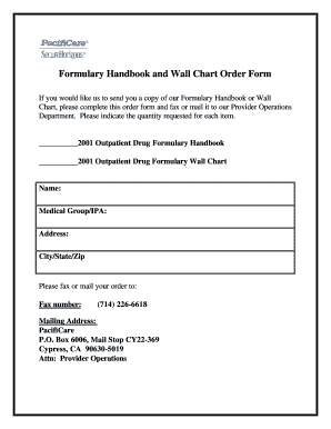Formulary Handbook and Wall Chart Order Form - Pacificare.com ...