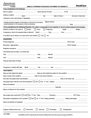 Statement Of Disability Form