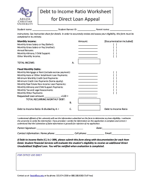 Fillable Online Debt to Income Ratio Worksheet for Direct Loan ...