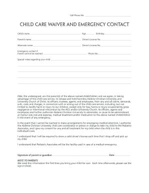 Btw Child Care Waiver Form Abilene University Acu Emergency Contact