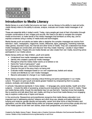 Introduction to Media Literacy - Media Literacy Project