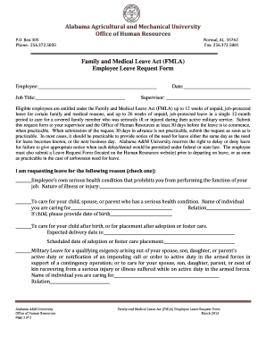 (FMLA) Employee Leave Request Form - Alabama A&M University - aamu