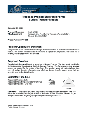 Proposed Project: Electronic Forms Budget ... - Angelo State University
