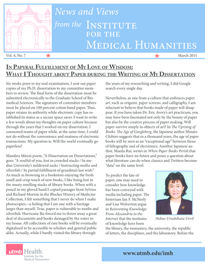 IMH News in Brief - The Institute for the Medical Humanities at UTMB