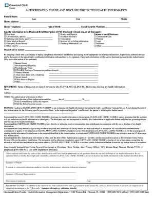 cleveland clinic florida authorization to use and disclose protected health information form instructions