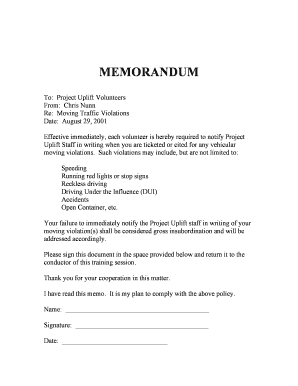 MOVING TRAFFIC VIOLATIONS MEMO - auburn