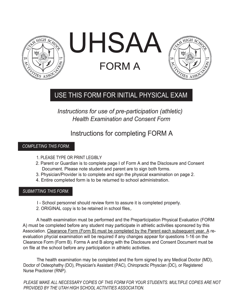 sports physical form utah  Sports Physical Printable Form - Fill Online, Printable ...