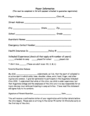 Volleyball Admission Forms - Fill Online, Printable, Fillable ...