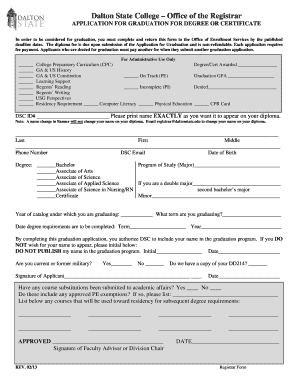 Graduation Application - Dalton State College - daltonstate