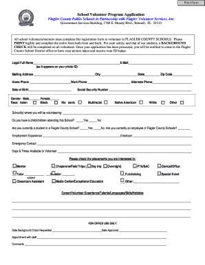 Flagler County Schools Volunteer Application - Fill Online ...