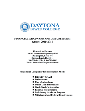 Fillable Online daytonastate FINANCIAL AID AWARD AND DISBURSEMENT ...