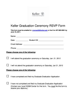 Fillable Online orl devry Keller Graduation Ceremony RSVP Form ...