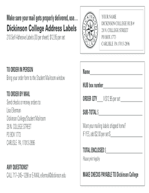 Dickinson College Address Labels - dickinson