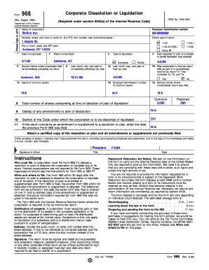 Fillable Online Form 966 (Rev. August 1998). Corporate Dissolution ...