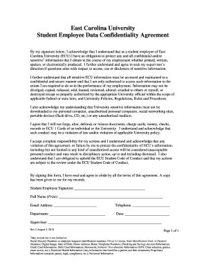 Student Employee Confidentiality Agreement - East Carolina ... - ecu