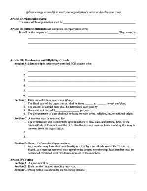 constitution template form