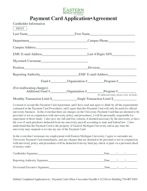 Payment Card Application Agreement - Eastern Michigan University - emich