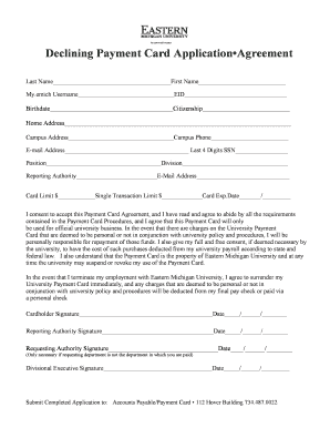 Declining Payment Card Application Agreement - Eastern Michigan ... - emich