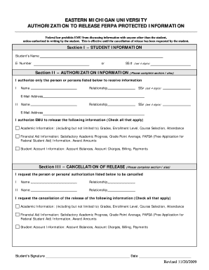 Fillable Online emich FERPA Consent Form - Eastern Michigan ...