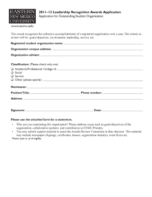 outstanding student organization outstanding student organization 2011 12 leadership recognition awards application