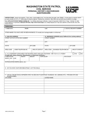 Fillable Online ewu WSP Background Check Form - Eastern Washington ...