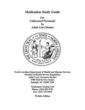 medication study guide for unlicensed personnel fill online rh pdffiller com