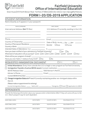 application fee for ds in fairfield university form