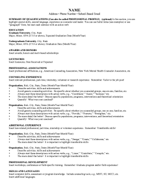 Mental Health Counselor / Psychologist Resume and Cover Letter