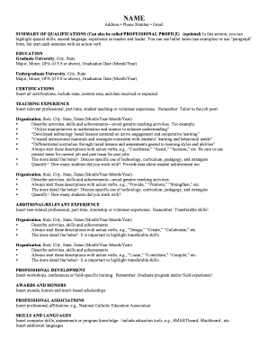 Teacher fillable resume form