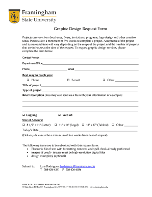 Fillable Online framingham Graphic Design Request Form ...