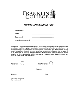 Fillable Online ANNUAL LEAVE REQUEST FORM - Franklin College Fax ...