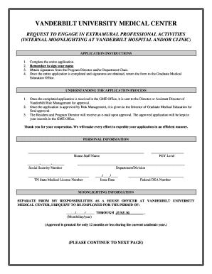 Vanderbilt Internal Moonlighting Form - Fill Online, Printable